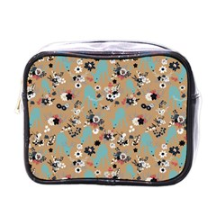 Deer Cerry Animals Flower Floral Leaf Fruit Brown Black Blue Mini Toiletries Bags