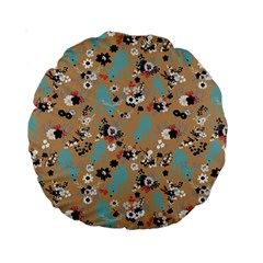 Deer Cerry Animals Flower Floral Leaf Fruit Brown Black Blue Standard 15  Premium Round Cushions by Jojostore