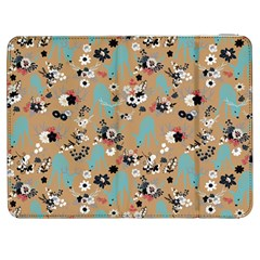 Deer Cerry Animals Flower Floral Leaf Fruit Brown Black Blue Samsung Galaxy Tab 7  P1000 Flip Case by Jojostore