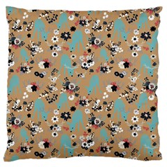 Deer Cerry Animals Flower Floral Leaf Fruit Brown Black Blue Large Flano Cushion Case (one Side)