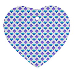 Diamond Heart Card Purple Valentine Love Blue Ornament (heart) by Jojostore