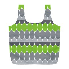 Egg Wave Chevron Green Grey Full Print Recycle Bags (l)  by Jojostore