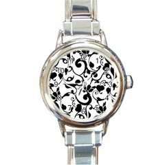 Floral Flower Leaf Black Round Italian Charm Watch by Jojostore