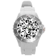 Floral Flower Leaf Black Round Plastic Sport Watch (l) by Jojostore