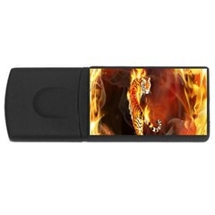 Fire Tiger Lion Animals Wild Orange Yellow Usb Flash Drive Rectangular (4 Gb) by Jojostore