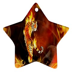 Fire Tiger Lion Animals Wild Orange Yellow Star Ornament (two Sides)