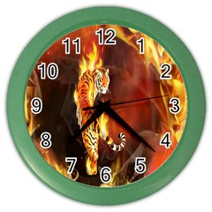 Fire Tiger Lion Animals Wild Orange Yellow Color Wall Clocks by Jojostore