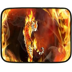 Fire Tiger Lion Animals Wild Orange Yellow Fleece Blanket (mini)