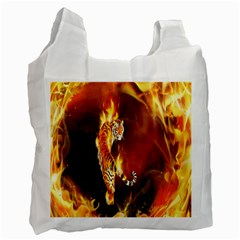 Fire Tiger Lion Animals Wild Orange Yellow Recycle Bag (two Side)  by Jojostore