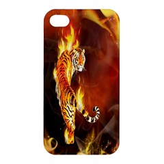 Fire Tiger Lion Animals Wild Orange Yellow Apple Iphone 4/4s Premium Hardshell Case