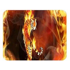 Fire Tiger Lion Animals Wild Orange Yellow Double Sided Flano Blanket (large)  by Jojostore