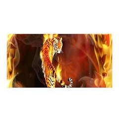 Fire Tiger Lion Animals Wild Orange Yellow Satin Wrap