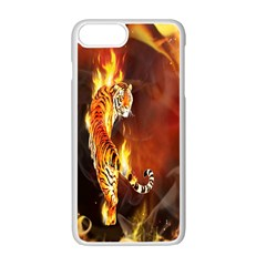 Fire Tiger Lion Animals Wild Orange Yellow Apple Iphone 7 Plus White Seamless Case by Jojostore