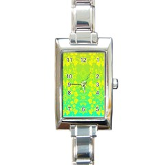 Floral Flower Leaf Yellow Blue Rectangle Italian Charm Watch by Jojostore