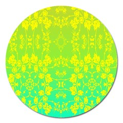 Floral Flower Leaf Yellow Blue Magnet 5  (round) by Jojostore
