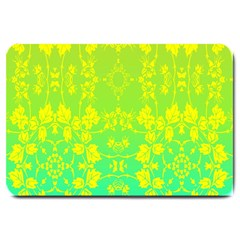 Floral Flower Leaf Yellow Blue Large Doormat