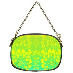 Floral Flower Leaf Yellow Blue Chain Purses (one Side)  by Jojostore