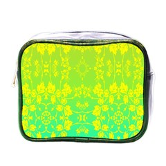Floral Flower Leaf Yellow Blue Mini Toiletries Bags