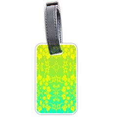 Floral Flower Leaf Yellow Blue Luggage Tags (one Side)