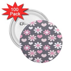 Flower Floral Rose Sunflower Pink Grey Love Heart Valentine 2 25  Buttons (100 Pack)