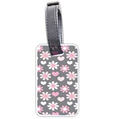Flower Floral Rose Sunflower Pink Grey Love Heart Valentine Luggage Tags (two Sides) by Jojostore