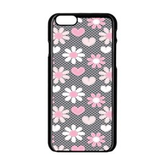 Flower Floral Rose Sunflower Pink Grey Love Heart Valentine Apple Iphone 6/6s Black Enamel Case by Jojostore