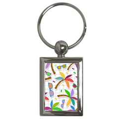 Glasses Coconut Tree Color Rainbow Purple Yellow Orange Green Red Pink Brown Line Key Chains (rectangle)