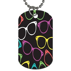 Glasses Color Pink Mpurple Green Yellow Blue Rainbow Black Dog Tag (one Side)