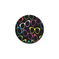 Glasses Color Pink Mpurple Green Yellow Blue Rainbow Black Golf Ball Marker by Jojostore