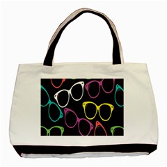 Glasses Color Pink Mpurple Green Yellow Blue Rainbow Black Basic Tote Bag (two Sides) by Jojostore