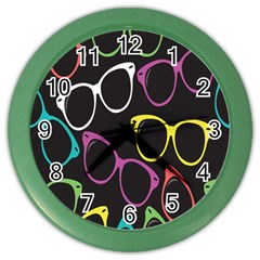 Glasses Color Pink Mpurple Green Yellow Blue Rainbow Black Color Wall Clocks by Jojostore