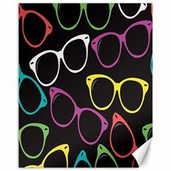 Glasses Color Pink Mpurple Green Yellow Blue Rainbow Black Canvas 11  X 14   by Jojostore