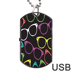 Glasses Color Pink Mpurple Green Yellow Blue Rainbow Black Dog Tag Usb Flash (one Side) by Jojostore