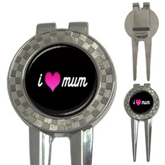 I Love Moom Mum Pink Valentine Heart 3 In 1 Golf Divots by Jojostore