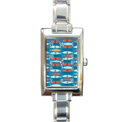 Go Fish  Fishing Animals Sea Water Beach Red Blue Orange Grey Rectangle Italian Charm Watch by Jojostore