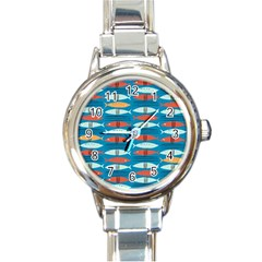 Go Fish  Fishing Animals Sea Water Beach Red Blue Orange Grey Round Italian Charm Watch by Jojostore