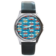 Go Fish  Fishing Animals Sea Water Beach Red Blue Orange Grey Round Metal Watch by Jojostore