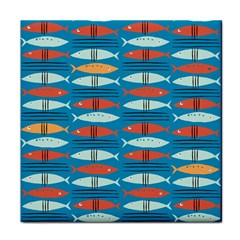 Go Fish  Fishing Animals Sea Water Beach Red Blue Orange Grey Tile Coasters by Jojostore