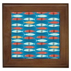 Go Fish  Fishing Animals Sea Water Beach Red Blue Orange Grey Framed Tiles by Jojostore