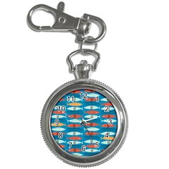 Go Fish  Fishing Animals Sea Water Beach Red Blue Orange Grey Key Chain Watches by Jojostore