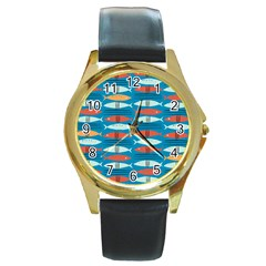 Go Fish  Fishing Animals Sea Water Beach Red Blue Orange Grey Round Gold Metal Watch by Jojostore