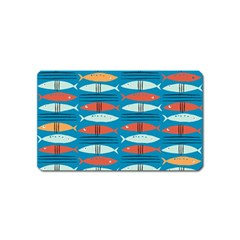 Go Fish  Fishing Animals Sea Water Beach Red Blue Orange Grey Magnet (name Card) by Jojostore