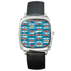 Go Fish  Fishing Animals Sea Water Beach Red Blue Orange Grey Square Metal Watch by Jojostore
