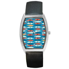 Go Fish  Fishing Animals Sea Water Beach Red Blue Orange Grey Barrel Style Metal Watch by Jojostore