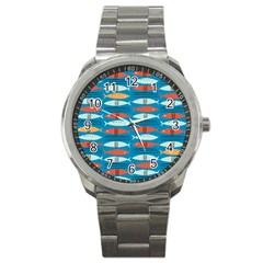 Go Fish  Fishing Animals Sea Water Beach Red Blue Orange Grey Sport Metal Watch by Jojostore