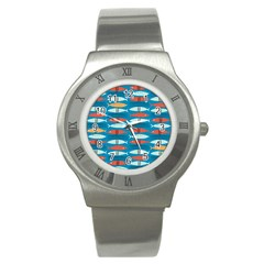 Go Fish  Fishing Animals Sea Water Beach Red Blue Orange Grey Stainless Steel Watch by Jojostore