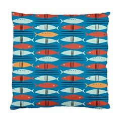 Go Fish  Fishing Animals Sea Water Beach Red Blue Orange Grey Standard Cushion Case (two Sides) by Jojostore
