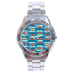 Go Fish  Fishing Animals Sea Water Beach Red Blue Orange Grey Stainless Steel Analogue Watch by Jojostore