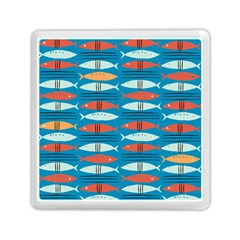 Go Fish  Fishing Animals Sea Water Beach Red Blue Orange Grey Memory Card Reader (square)  by Jojostore