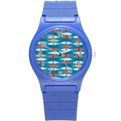 Go Fish  Fishing Animals Sea Water Beach Red Blue Orange Grey Round Plastic Sport Watch (s) by Jojostore